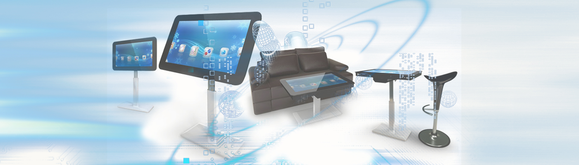 the banner of S Design Table Touch Kiosk